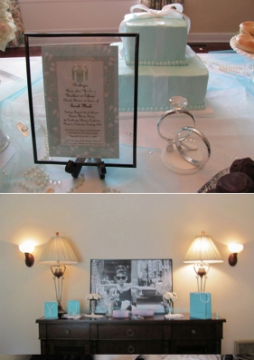 Breakfast at Tiffany themed bridal shower menu, food,cake,